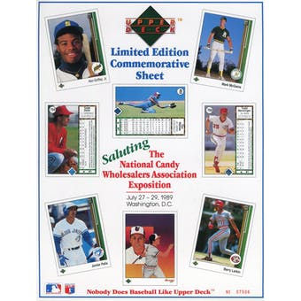 """1989 Upper Deck """"The First"""" Limited Edition Commemorative Sheet with Griffey Jr Rookie!"""