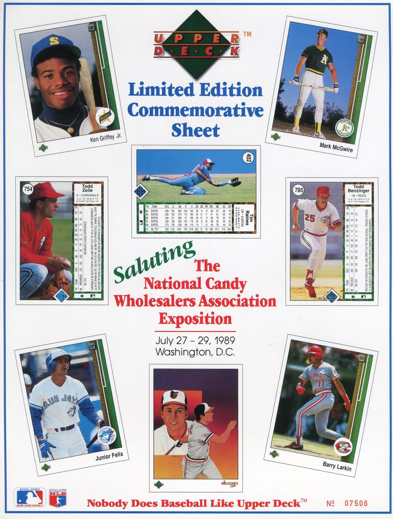1989 Upper Deck The First Limited Edition Commemorative Sheet With Griffey Jr Rookie