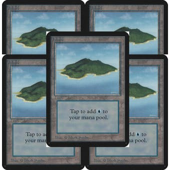Magic the Gathering Alpha Basics LOT 5x Island (trees) - SLIGHT PLAY (SP)