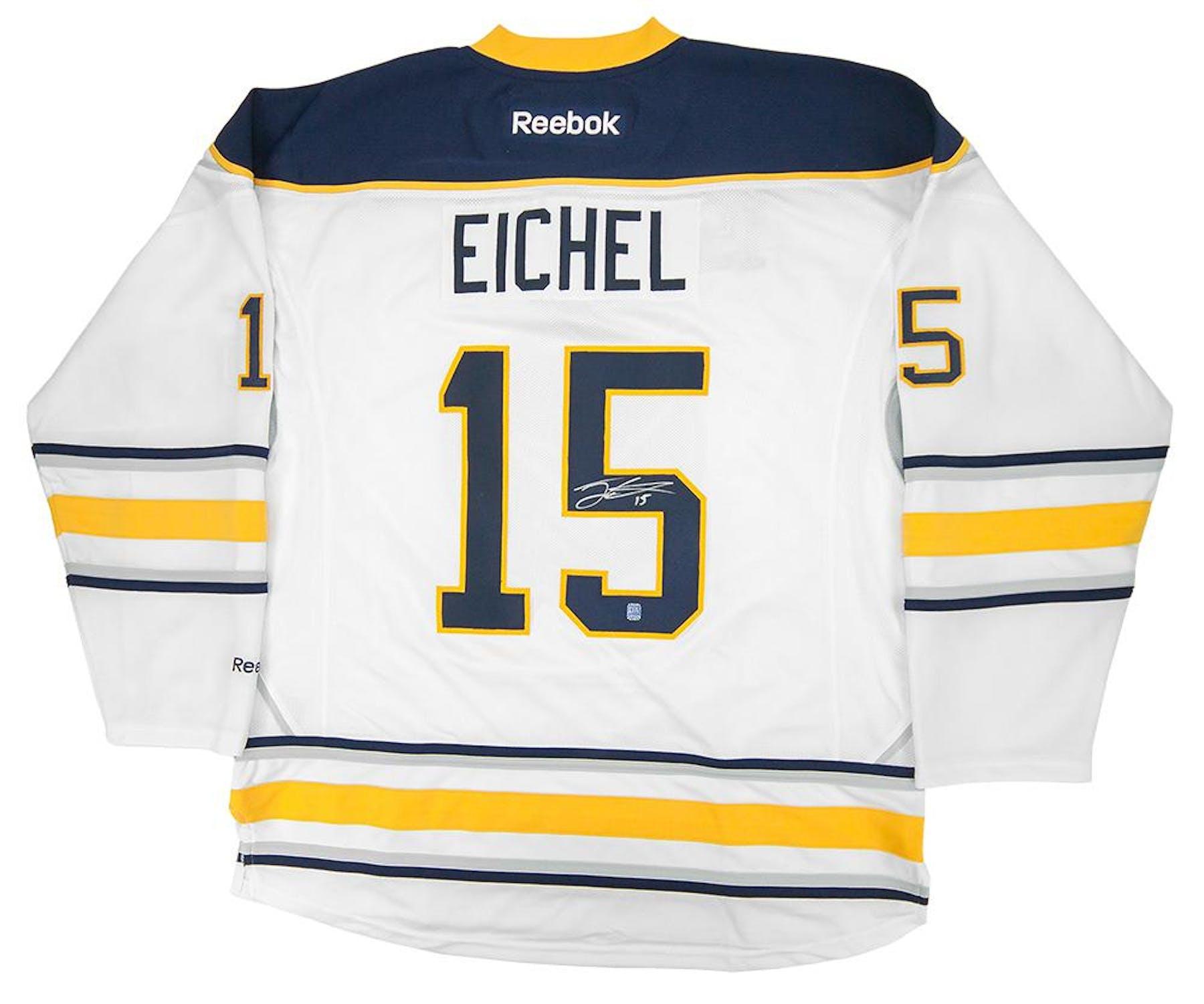 pretty nice 8f4f3 00120 Jack Eichel #15 Autographed Buffalo Sabres XL White Hockey Jersey
