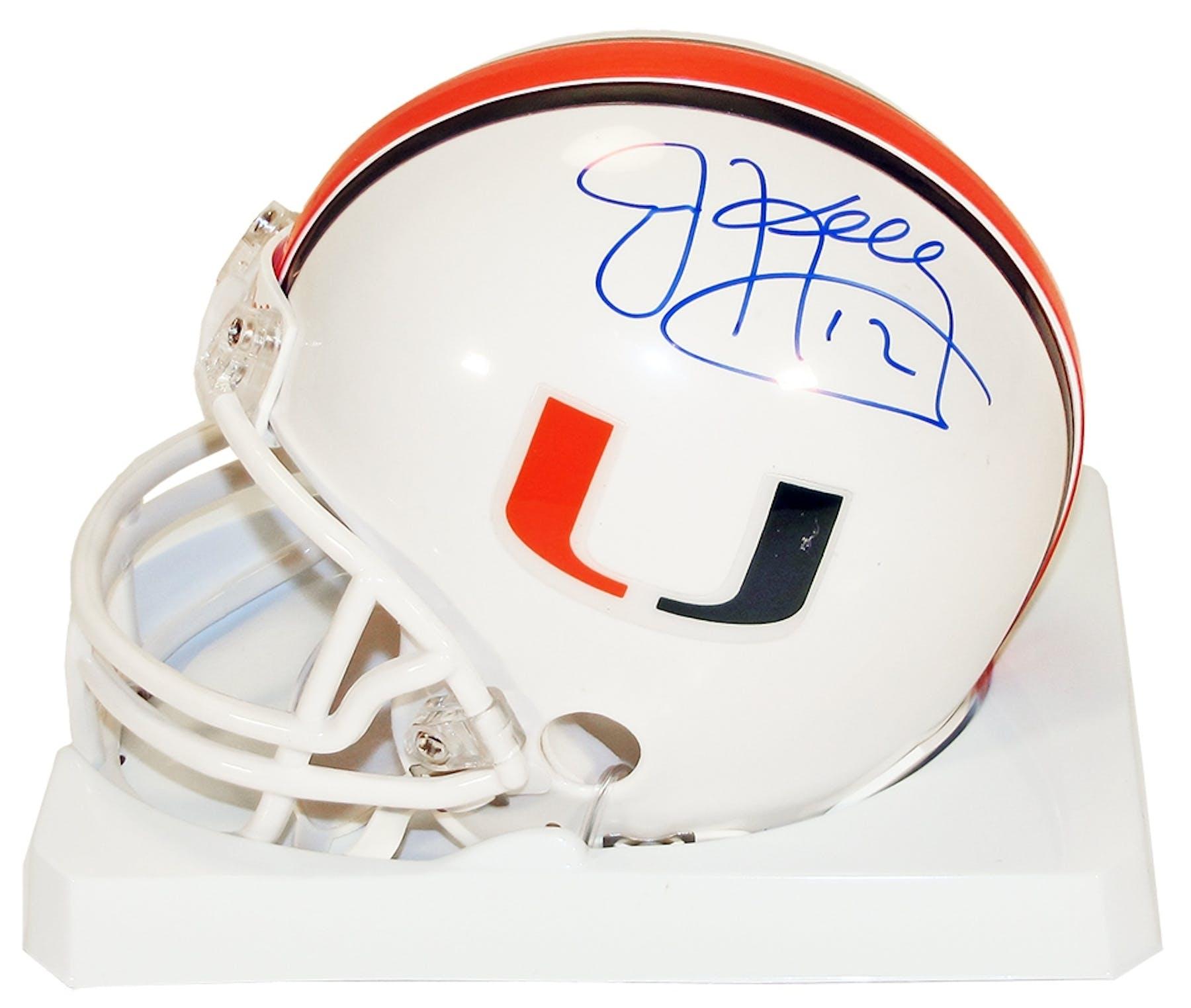 the best attitude 78874 9aba5 Jim Kelly Autographed University of Miami Hurricanes Football Mini Helmet