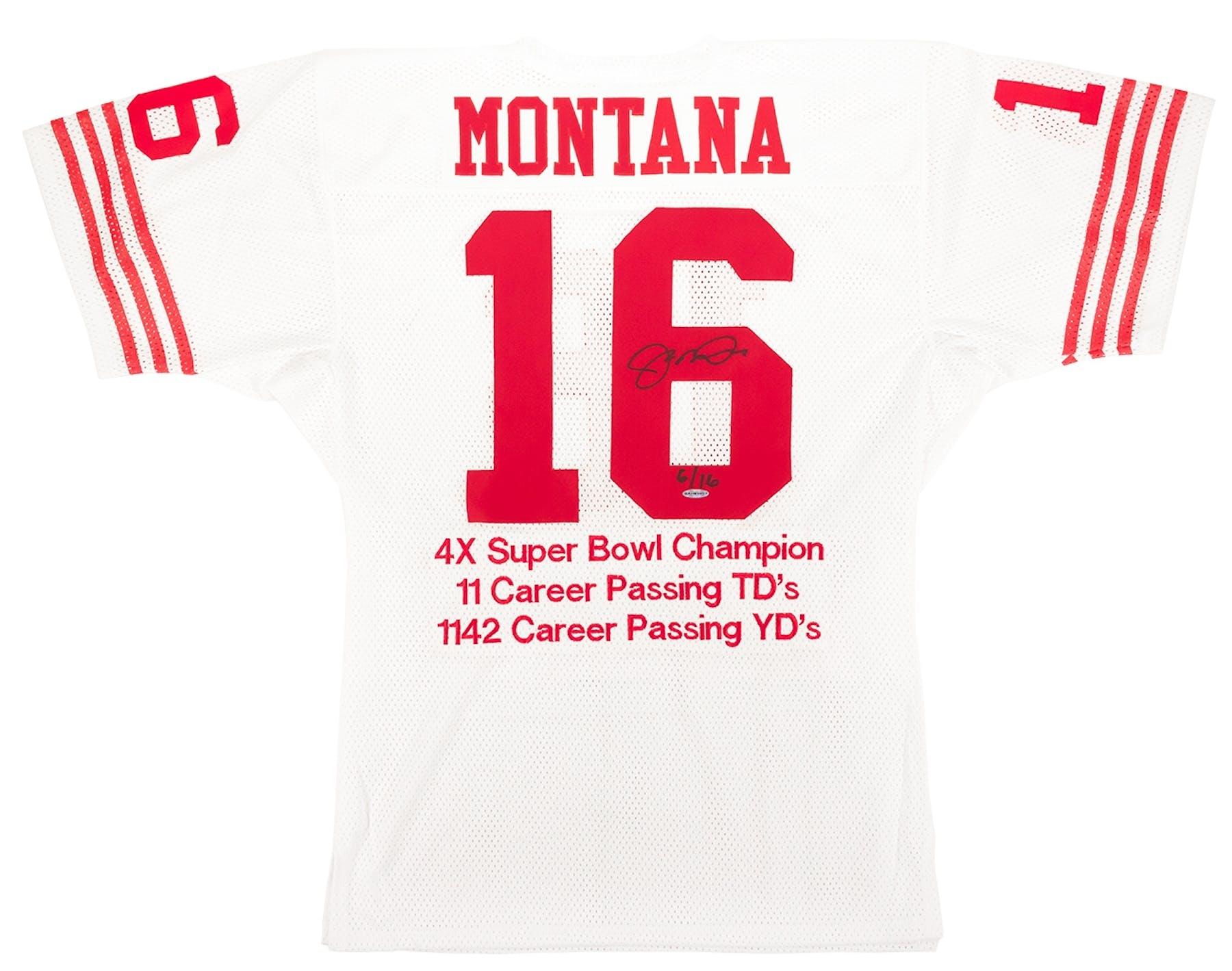 345cc7c5509 Joe Montana Autographed San Francisco 49ers Stat Jersey  6 16 ...