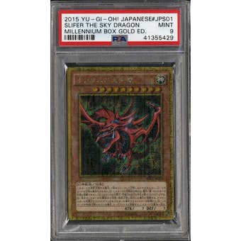 Yu-Gi-Oh Japanese Millennium Box Gold Edition Slifer the Sky Dragon MB01-JPS01 PSA 9