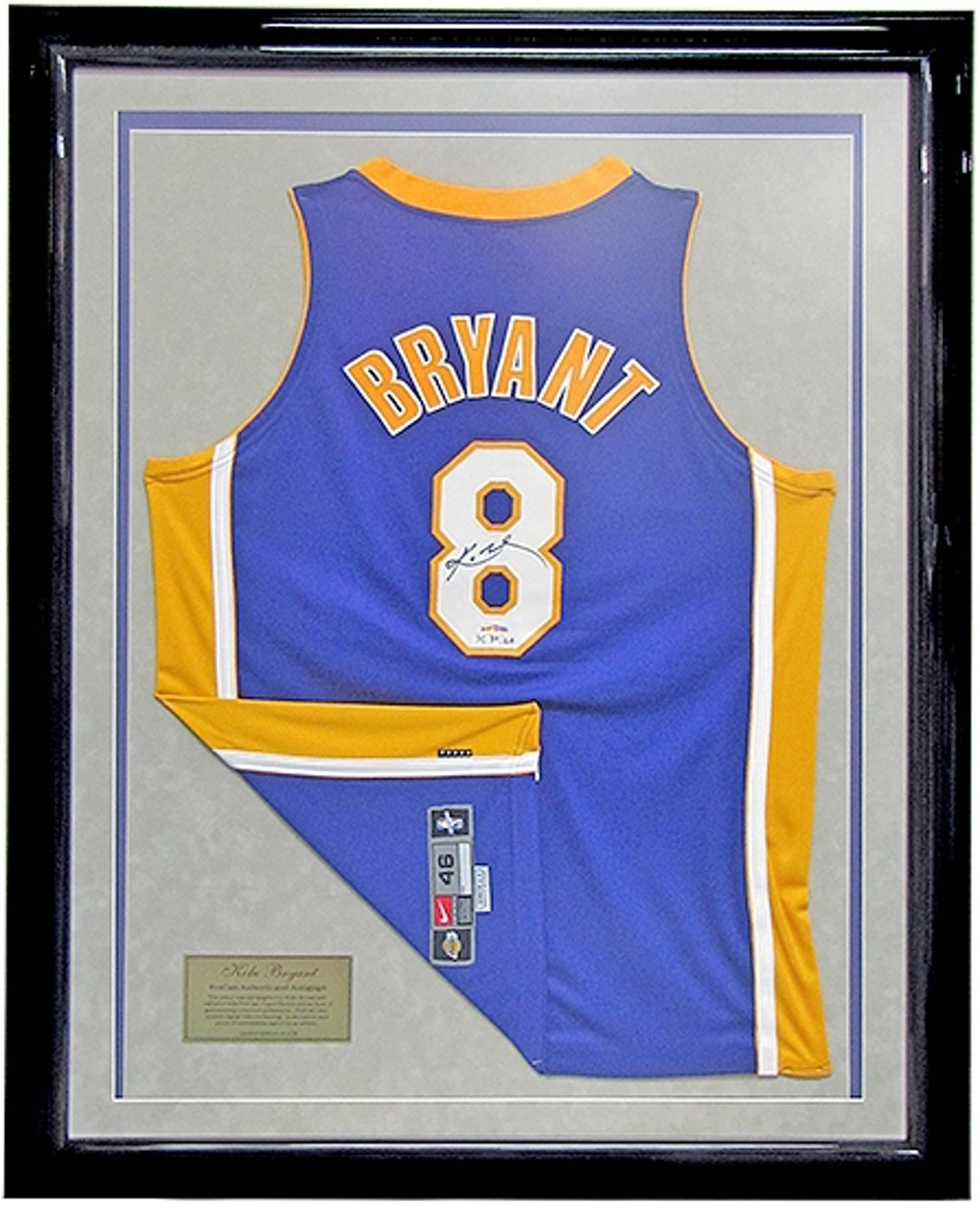 eb8540426bb Kobe Bryant Autographed   Framed L.A. Lakers Authentic Jersey  8 ...