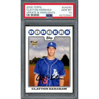 2008 Topps Update Clayton Kershaw PSA 10 card #UH240
