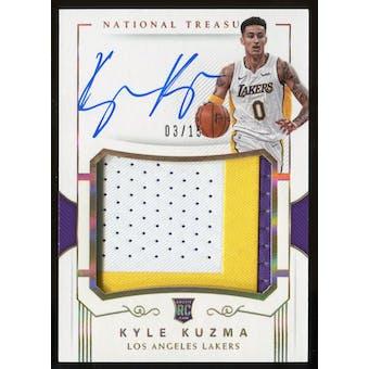 2017-18 Panini National Treasures Kyle Kuzma Auto Relic Card #126 #3/15