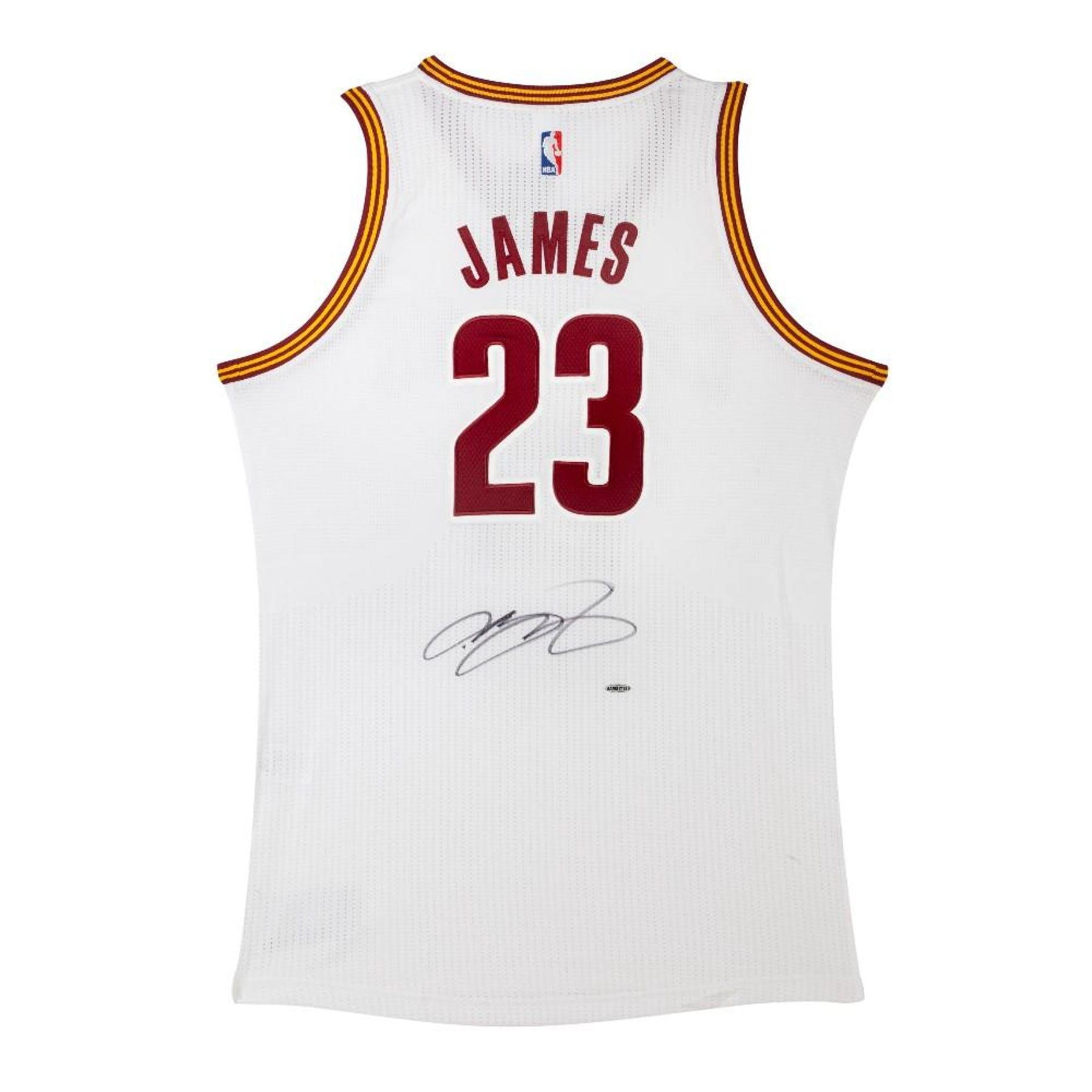 super cute d2a72 18e3b LeBron James Autographed Cleveland Cavaliers White Basketball Jersey UDA