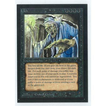 Magic the Gathering Beta Artist Proof Lich - SIGNED & NUMBERED BY DANIEL GELON