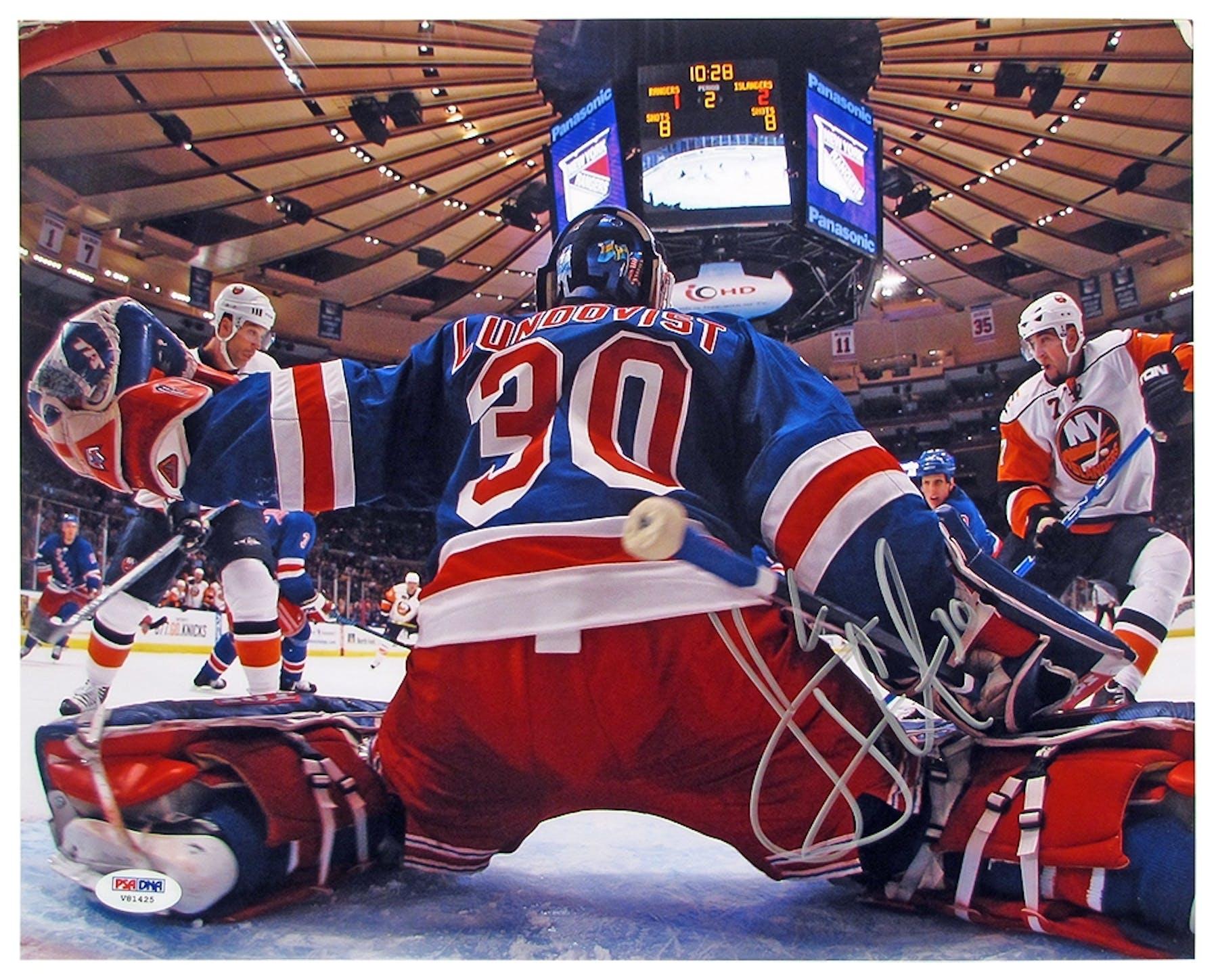 f2894c0300c Henrik Lundqvist Autographed New York Rangers 11x14 Goal Cam ...