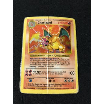 Pokemon Base Set Shadowless Charizard 4/102 HEAVY PLAY / DAMAGED / LAMINATED