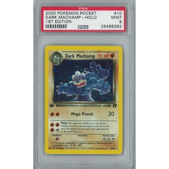 Pokemon Team Rocket 1st Edition Dark Machamp 10/82 PSA 9