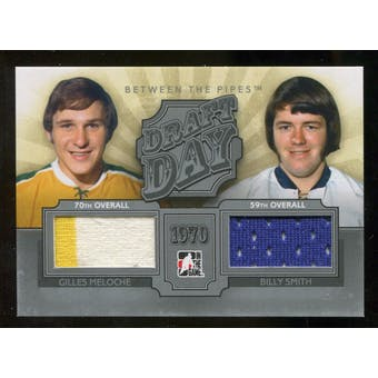 2012/13 In the Game Between The Pipes Draft Day Jerseys Silver #DD20 Gilles Meloche/Billy Smith /100