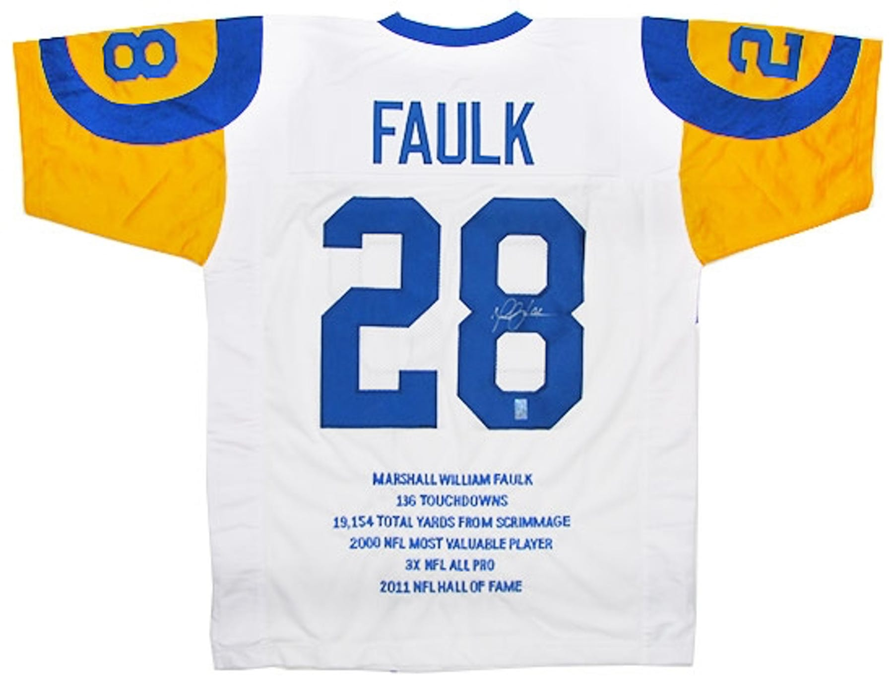 89f3fd80a Marshall Faulk Autographed St. Louis Rams Stat Jersey
