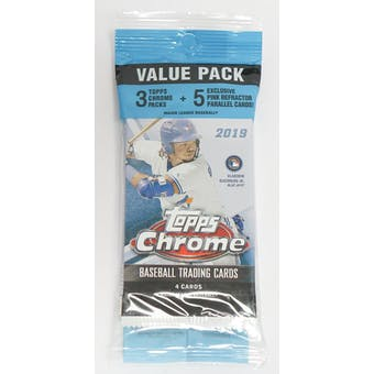 2019 Topps Chrome Baseball Jumbo Value 17-Card Pack (Pink Refractors)