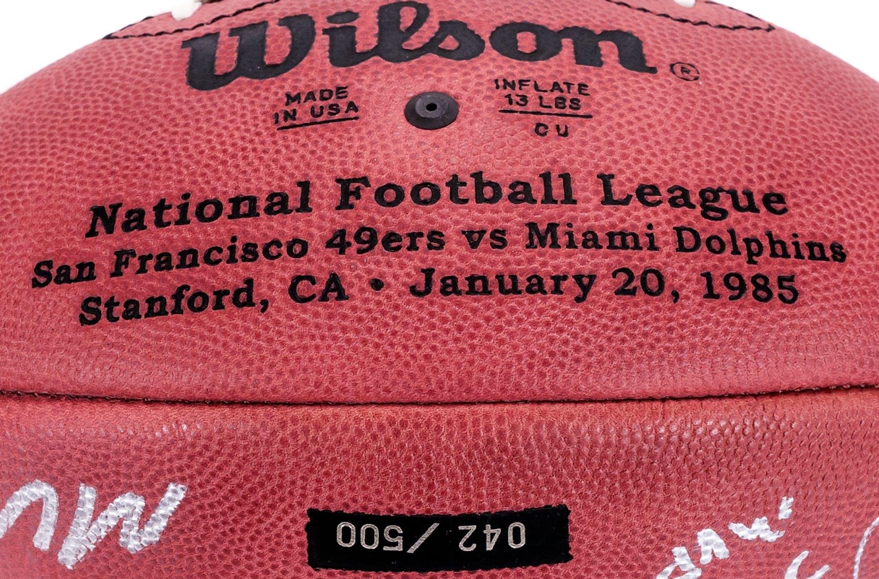... Joe Montana   Dan Marino Autographed Super Bowl XIX Wilson Football (Mounted  Memories) ... 105e21887