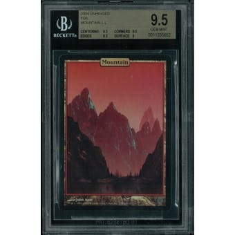 Magic the Gathering Unhinged FOIL Mountain BGS 9.5 (9.5, 9.5, 9.5, 9)
