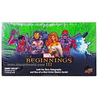 Marvel Beginnings III Trading Cards Hobby Box (Upper Deck 2012)