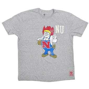 Nebraska Cornhuskers Gray Adidas Herbie Tri-Blend T-Shirt (Adult M)