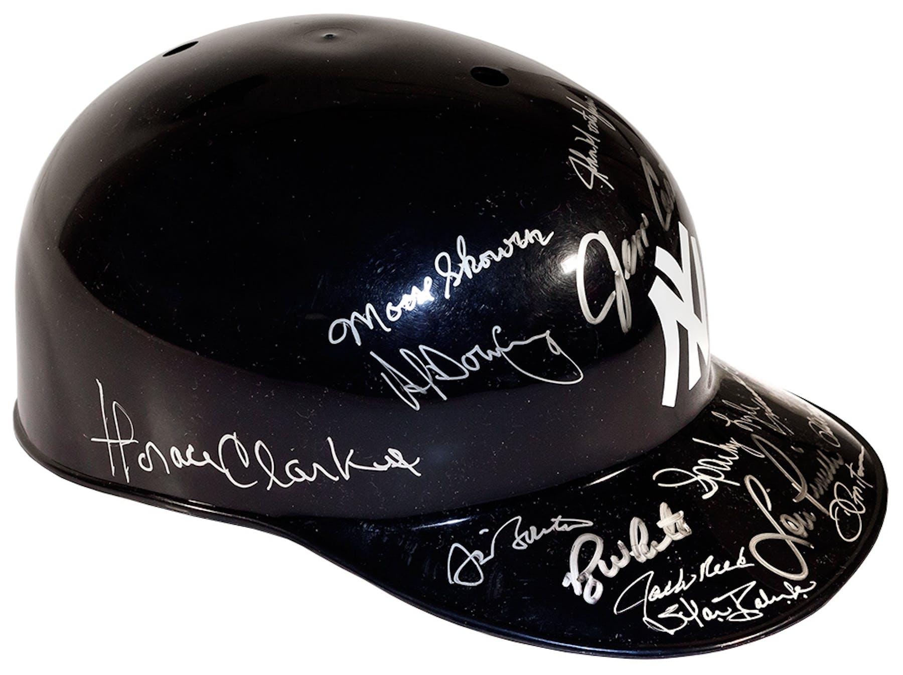 5e5f88777ee New York Yankees Autographed Multi-Signed Hard Hat Helmet (JSA ...