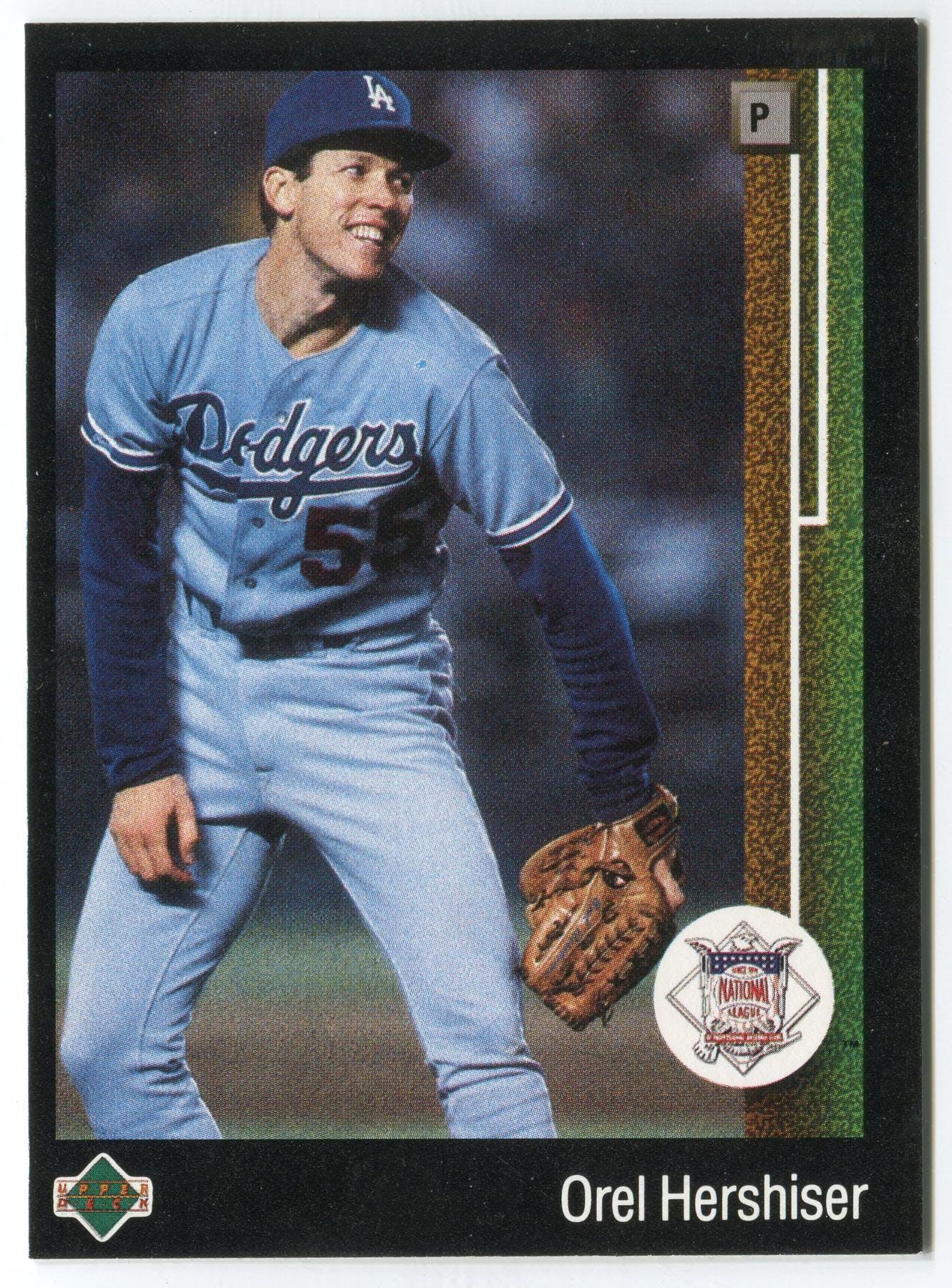 1989 Upper Deck Orel Hershiser Los Angeles Dodgers Blank Back Black Border Proof