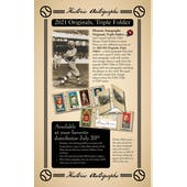 2021 Historic Autographs Originals Triple Folders Baseball Hobby 8-Box Case