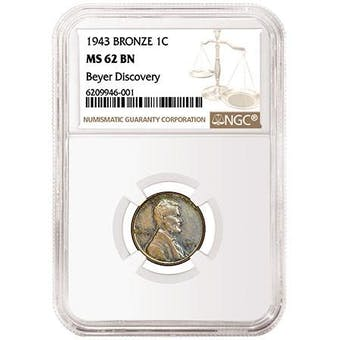1943 Bronze Cent (Penny) NGC MS 62 BN Beyer Discovery