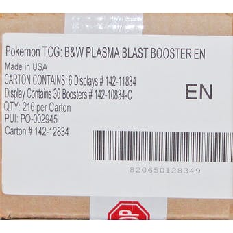 Pokemon Black & White: Plasma Blast Booster 6-Box Case