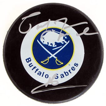 Pat LaFontaine Autographed Buffalo Sabres Throwback Hockey Puck