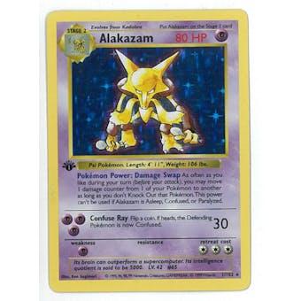Pokemon Base Set 1 Single 1st Edition Alakazam 1/102 - Shadowless - SLIGHT PLAY (SP)