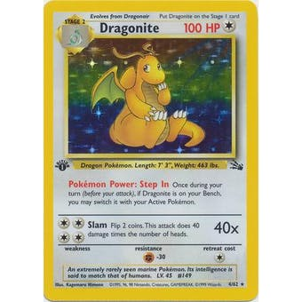 Pokemon Fossil 1st Edition Single Dragonite 4/62 - SLIGHT PLAY (SP)