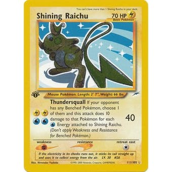 Pokemon Neo Destiny 1st Edition Single Shining Raichu 111/105 - SLIGHT PLAY (SP)