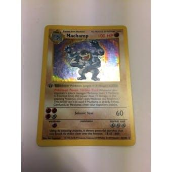 Pokemon Base Set 1 Single 1st Edition Machamp 8/102 - Shadowless - SLIGHT PLAY