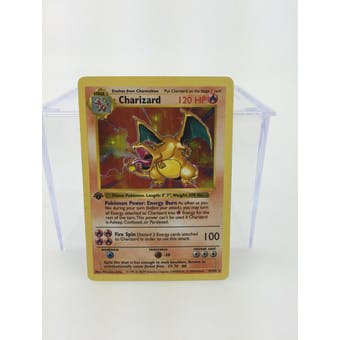 Pokemon Base Set Single 1st Edition Charizard 4/102 - Shadowless MODERATE PLAY (MP)