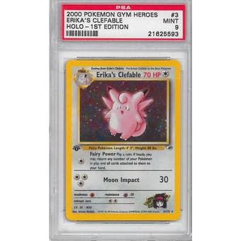 Pokemon Gym Heroes 1st Edition Erika's Clefable 3/132 PSA 9