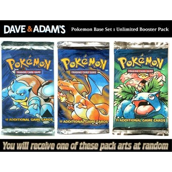 WOTC Pokemon Base Set 1 Unlimited Booster Pack UNWEIGHED UNSEARCHED RANDOM ART