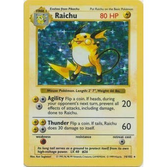 Pokemon Base Set 1 Shadowless Single Raichu 14 - SLIGHT PLAY (SP)