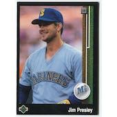 1989 Upper Deck Jim Presley Seattle Mariners Blank Back Black Border Proof