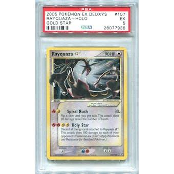 Pokemon EX Deoxys Rayquaza Gold Star 107/107 PSA 5