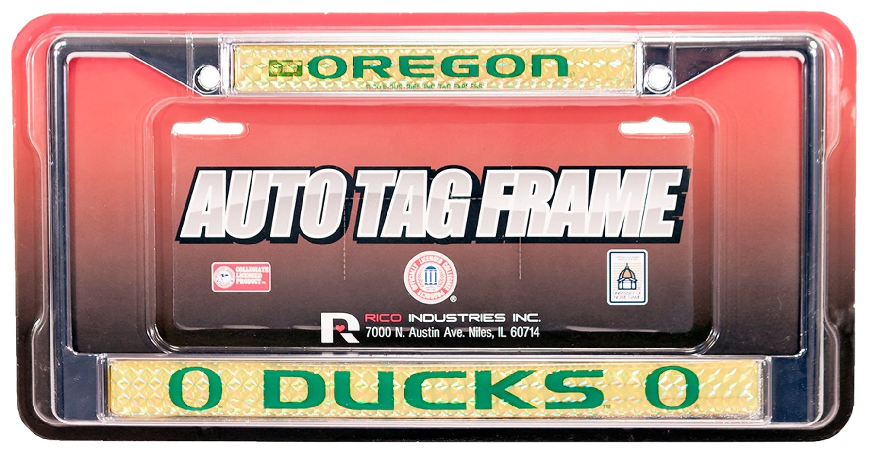 Rico Tag Oregon Ducks Domed Chrome License Plate Frame