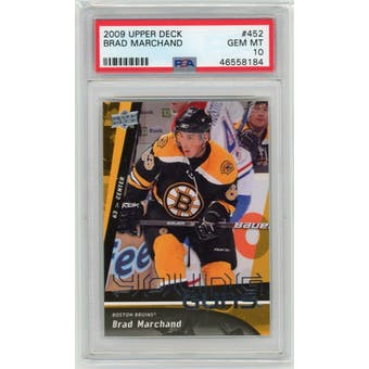 2009/10 Upper Deck Young Gun Brad Marchand PSA 10 card #452