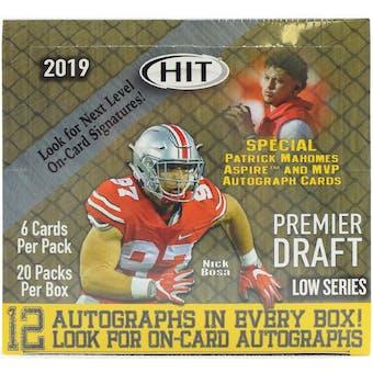 2019 Sage Hit Premier Draft Low Series Football Hobby Box