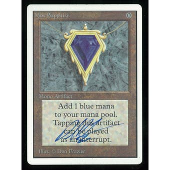Magic the Gathering Unlimited Single Mox Sapphire - SLIGHT PLAY plus (SP+) Artist Signed