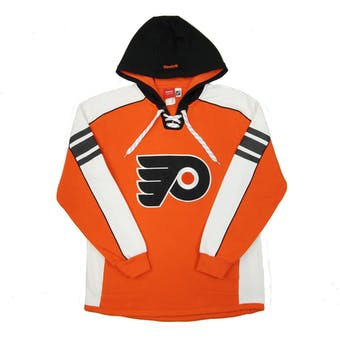 Philadelphia Flyers Reebok Orange Lace Up Fleece Jersey Hoodie (Adult M)