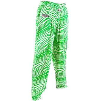Seattle Seahawks Zubaz Neon Green and White Zebra Print Pants