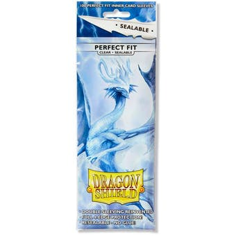 Dragon Shield Card Sleeves Perfect Fit Sealable - Clear (100 Ct.)