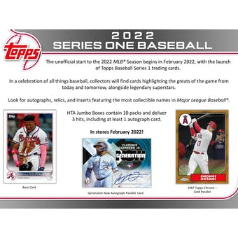 2022 Topps Series 1 Baseball Hobby Jumbo Box (Presell)