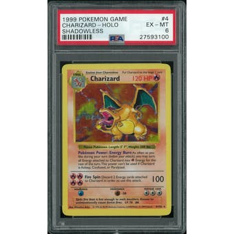 Pokemon Base Set Shadowless Charizard 4/102 PSA 6