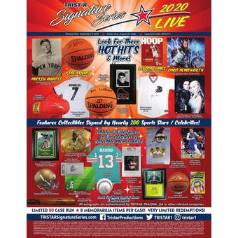 2020 TriStar Signature Series Live Hobby 8-Box Case- DACW Live 8 Spot Random Hit Break #1