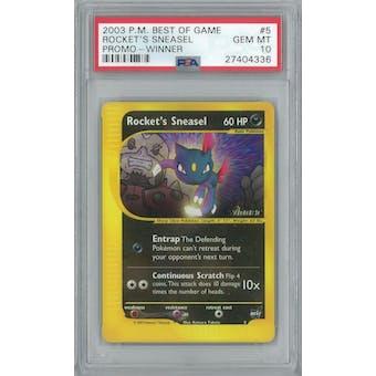 Pokemon Best of Game Rocket's Sneasel 5 Winner Stamp PSA 10 GEM MINT