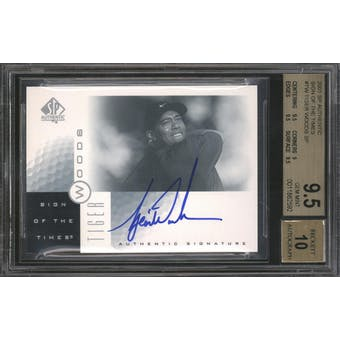 2001 Upper Deck SP Authentic Tiger Woods Rookie Autographed Card BGS 9.5